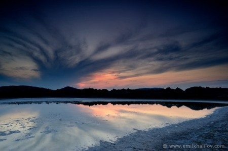 Galandarakhtarma mud volcano. Sunset view of a small salt lake in the middle of the volcanic field.